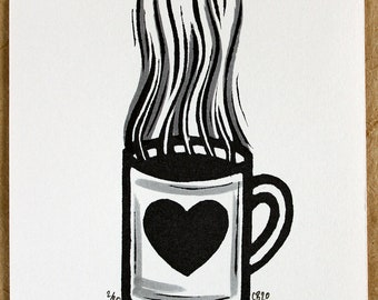 Little Brew. A hand carved stamp/relief print of a mug of tea/coffee with hand colouring in an edition of 80