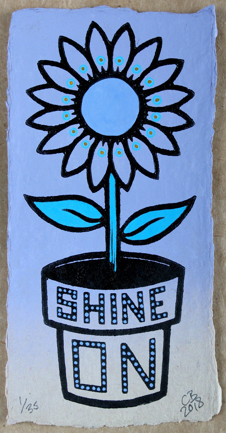 Shine On  Lilac edition a hand painted linocut  Signed image 0