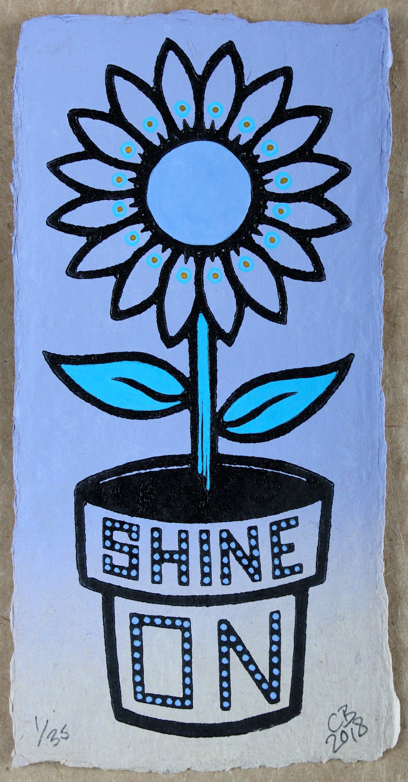 Shine On  Lilac edition a hand painted linocut  Signed image 1