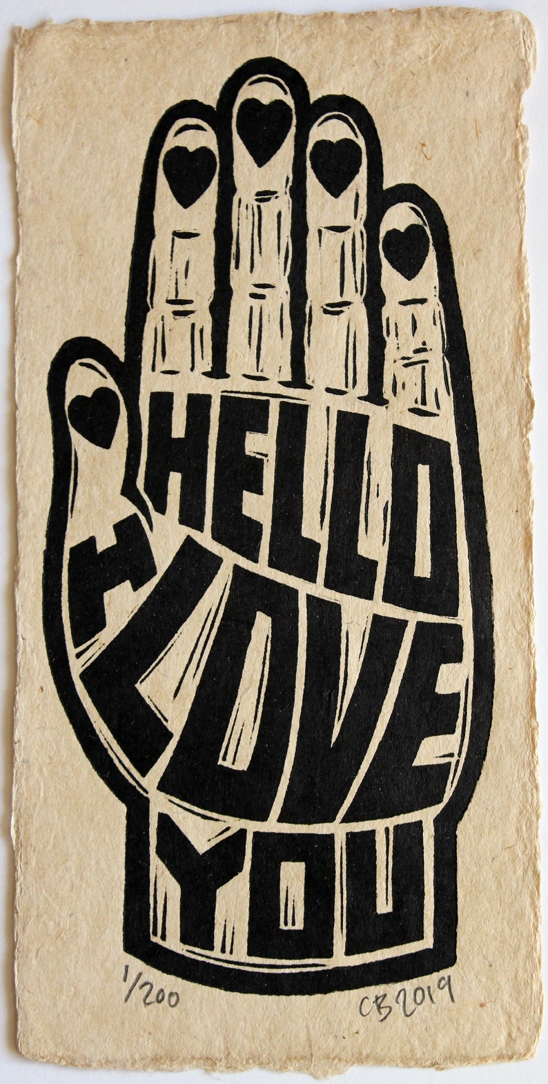 Hello I Love You  a linocut on handmade Bhutanese Paper  image 0