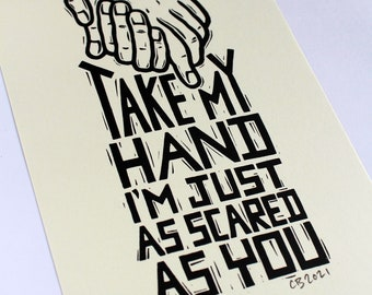 Take My Hand - Handmade print linocut print on Japanese paper in an edition of 70