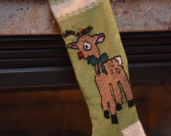 Christmas Stocking - Reindeer - MADE TO ORDER
