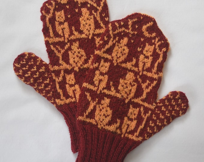 Harry Potter Inspired O.W.L. Mittens - Size Large - READY TO SHIP
