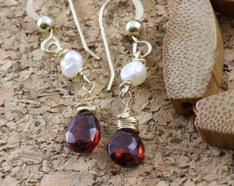 Small garnet earings, garnet and pearl earings, red earings, 14K gold fill earings, wire wrap jewelry, handmade for young women jewelry,