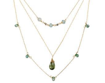 Layering Necklaces, Aquamarine Necklace, Birthstone Necklace, Gold Necklace, Buy One, Set of 2 or Set Of 3, March Birthstone