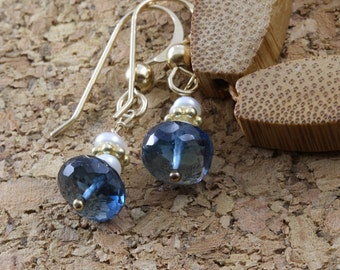Delicate blue goldfill wire wrap earrings, high quality blue topaz small pearl earings, handmade jewelry for young women