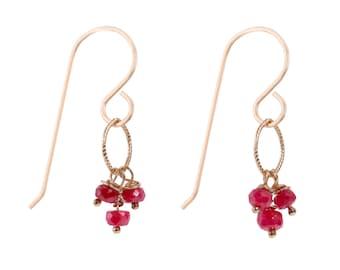FREE SHIPPING! Ruby earings, July birthstone earrings, 14k gold fill wire wrap earings, handmade jewelry for young women, fancy gem jewelry
