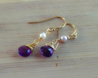 February birthstone earrings,  african amethyst earrings, gold earrings,  gemstone earrings, purple earrings, handmade wire wrap jewelry