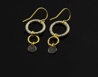 Three  Color Mixed Metal Dangling Hoops Earrings With Gold Plated Over Silver Hooks