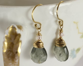 Aquamarine Earrings, Gold Earrings, Birthstone Earrings, March Birthstone, Gemstone Earrings, Wire Wrapped Earrinngs
