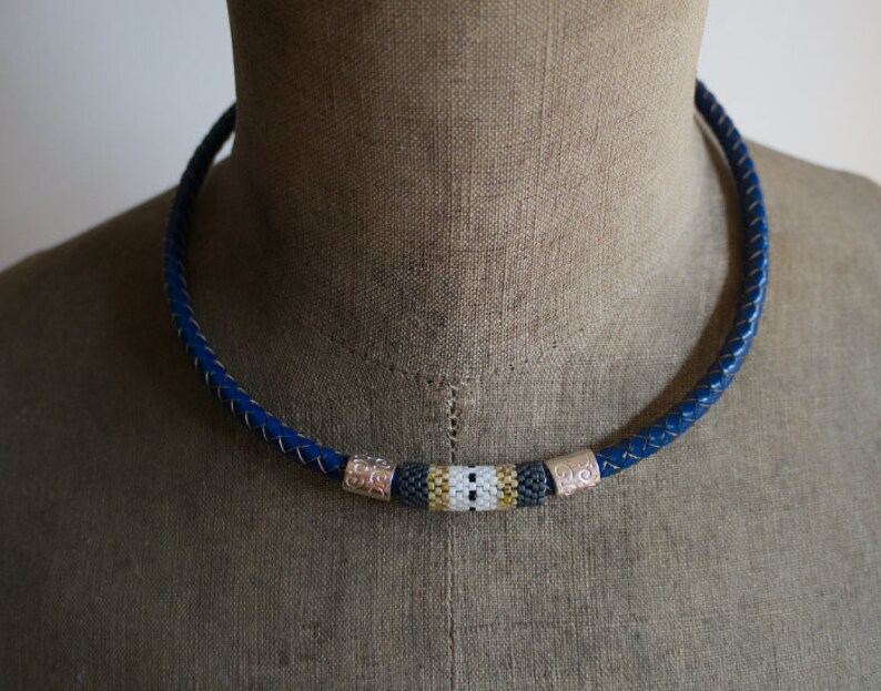 Unisex Beaded Necklace Blue Leather Choker Red White Necklace Hipster Necklace Blue Braided Leather Cord Necklace Seed Bead Choker