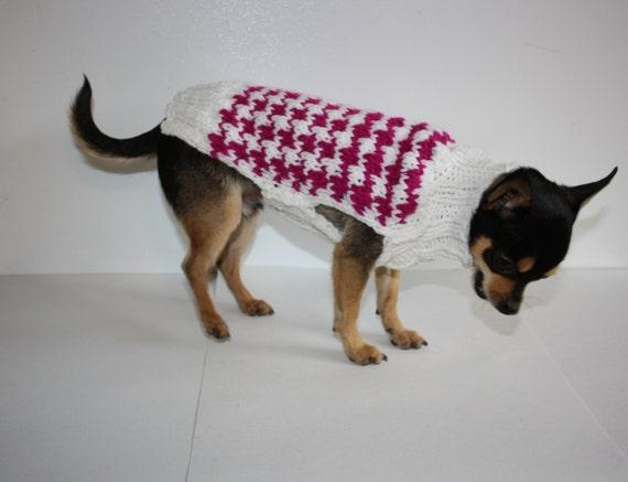 Small Dog Sweater Knitting Pattern Houndstooth Miniature Pet Etsy