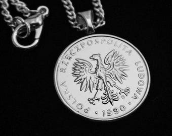 POLAND - 5 Zlotych w/ Eagle - Necklace (Lady's or Man's), Money Clip, Key Ring, Earrings, or Cuff Links.  For lovers of Poland or Eagles!