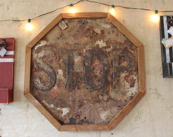 Vintage Framed Road Stop Sign