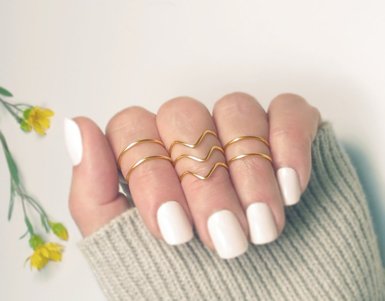 Gold Knuckle Ring Set Midi Rings Stacking Above Knuckle image 0
