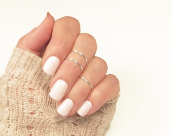 Midi Bands/ Knuckle Ring Set 3/ Above the Knuckle Ring/ Handmade Stacking Dainty Silver or Gold Ring