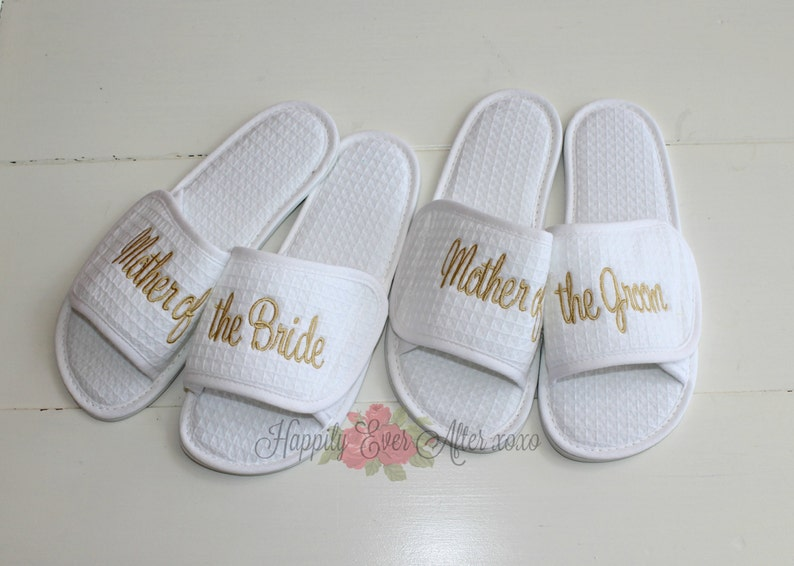 White Bride Wedding Slippers Bridesmaid Embroidered Personalised Velcro Name