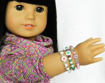 18 inch Doll Spring Holiday Bracelet Set American Girl Doll Bracelets Doll Jewelry, Doll Jewelry Gift Set