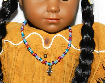 Saint Doll Accessories, St Kateri Doll Necklace, Cross Necklace Doll Jewelry, 18 inch Doll Cross Pendant Necklace American Girl Doll