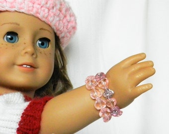 18 inch Doll Jewelry, Doll and Me Pink Heart Bead Bracelets, American Girl Doll Size Or Child Size Jewelry Set, Gift Set