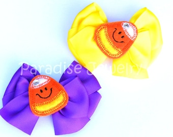 Girls Fall Hair Bows, Little Girls Candy Corn Feltie Hair Bow, Trunk or Treat, Harvest Party, Halloween Hair Clip, Choose Your Color