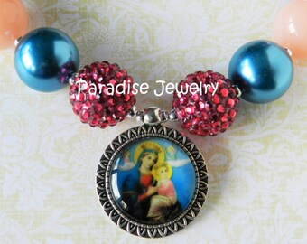 Our Lady of Perpetual Help Mother Mary Catholic Image Pendant Chunky Necklace ReligousJewelry Girls Jewelry Catholic Easter Basket