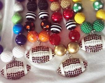 Football Necklace, Choose Your Colors, Rhinestone Football Pendant, Kids and Adult Size Chunky Bubblegum Bead Necklace