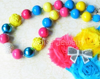 Bubblegum Necklace Flower Headband Hot Pink Blue Yellow Baby Girl 1st Birthday Outfit Photo Prop Toddler Necklace Birthday Necklace