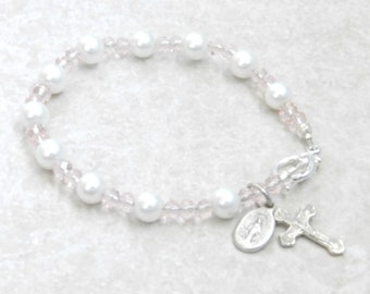 First Holy Communion Gift Baptism Gift Catholic Rosary Bracelet Cross Crucifix and Miraculous Medal Charm Glass Pearl Bead Bracelet