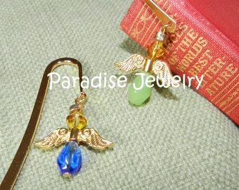 Guardian Angel Bookmark Green or Blue Glass Gold Plated Gift For Bookworm Metal Bookmark  Teacher Gift Student Gift Angel Wing Bookmark