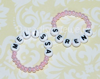 Identical Twin Girls Twin ID Bracelets Pink Baby ID Bracelet Twin Bracelets Newborn ID Bracelets Set Of Two Twin Girls Baby Bracelet