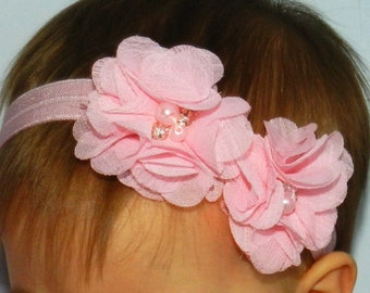Baby Headband Beaded Chiffon Double Flower Hair Bow, Hairband On Fold Over Elastic Choose Your Color Baby Girls Party Headband Baby Hairband