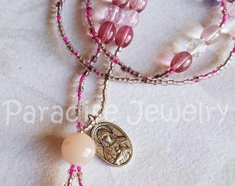 Lariat Necklace, Sacred Heart Immaculate Heart Medal, Jesus Mary, Long Beaded Tassel Necklace Wear Your Faith Religious Necklace Mothers Day
