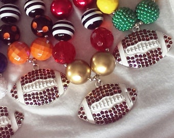 Chunky Bubblegum Bead, Football Necklace, Choose Your Colors, Rhinestone Football Pendant, Team Spirit, Kids, Adult Size, Chunky Necklace