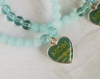 Mom Charm Essential Oils Bracelet Oil Diffuser Lava Stone Beaded Bracelet, Healing Bracelet Glass Bead Stretch Bracelet Gifts For Her