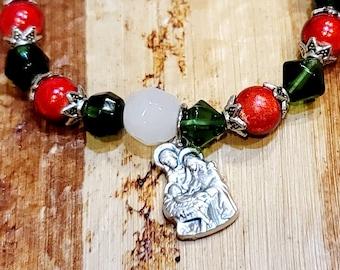 Christams Holy Family Bracelet, Swarovski Crystal Beads, Nativity Charm Bracelet
