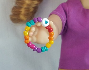 15 or 18 Inch Doll Bracelet, Rainbow Heart Bracelet American Girl Doll and Me Set Doll Jewelry