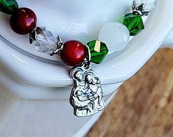 Nativity Charm Bracelet, Christams Holy Family Bracelet, Swarovski Crystal Beads
