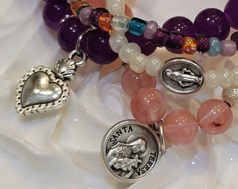 St Therese Catholic Bracelet Charm Stacking Bracelets Set Stackable Bracelets