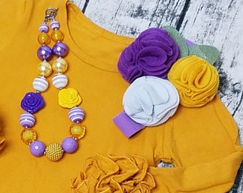 Headband And Chunky Necklace Purple Mustard Yellow Birthday Hairbow Set Little Girls Felt Flower Headband, Photo Prop Set