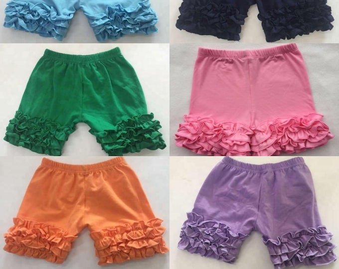 Featured listing image: Pre-order Ruffle Shorts, Ruffle Playground Shorts Girls Clothing Spring Little Girls Icing Ruffle Cotton Toddler Shorts Layering Shorts