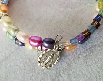 Miraculous Medal Wrap Bracelet, Multi Colored Pearl, Glass, Memory Wire Bracelet, Artisan Jewelry Unique Gift