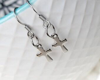 Cross Earrings Cross Charm Stainless Steel Hypoallergenic Jewelry