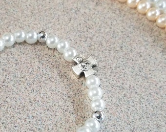 Baptism Gift, Baby Toddler Catholic Bracelet Silver Cross, Baby Jewelry Keepsake Gift