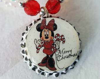 Minnie Inspired Necklace, Bottlecap Pendant, Bubblegum Beads, Girls Chunky Necklace Red White Black Minnie Mouse Merry Christmas Pendant