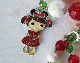 Mickey Mouse Ears Inspired Christmas Necklace, Bubblegum Beads, Rhinestone Pendant, Chunky Bead Necklce