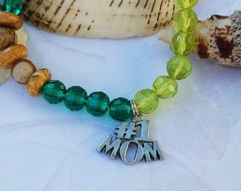 Charm #1 Mom Essential Oils Bracelet Oil Diffuser Lava Stone Jasper, Green Glass Bead Stretch Bracelet Gifts For Her