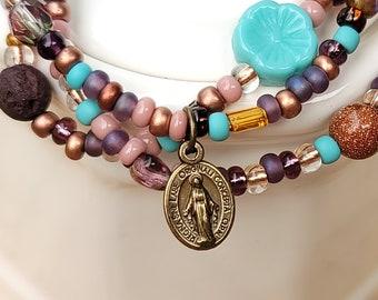Miraculous Medal Catholic Stacking Bracelets Set of Three Stackable Bracelets