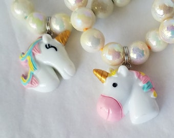 Girls Party Favor Unicorn Charm Bracelet, Rainbow Unicorn Birthday, Unicorn Party Supplies, Child Size Party Favor Bracelet Lot