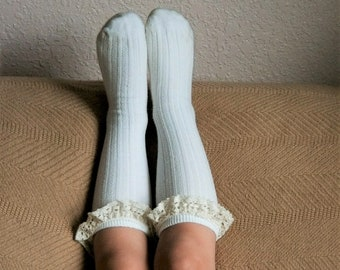 Girls Boot Socks, Ivory, Pink Or Grey Toddler Girls Lace Top Knee Highs Socks, Cable Knit Knee Socks
